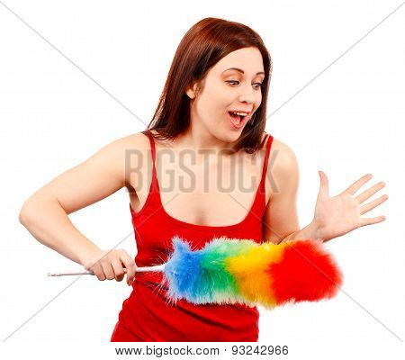 Surprised Woman In Red Shirt With Whisk For House Dust