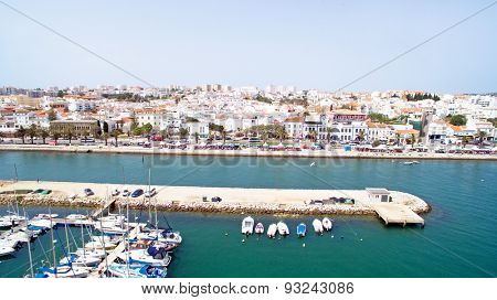 Aerial from the harbor in Lagos Portugal
