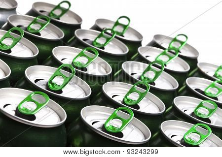 Aluminum beer cans. Close up in a sunny day