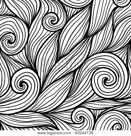 Black doodle hair waves seamless pattern