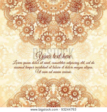Vector vintage background in mehndi style