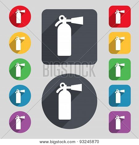 Fire Extinguisher Icon Sign. A Set Of 12 Colored Buttons And A Long Shadow. Flat Design. Vector
