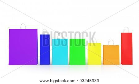 Many colorful shopping bags in rainbow colors (3D Rendering)