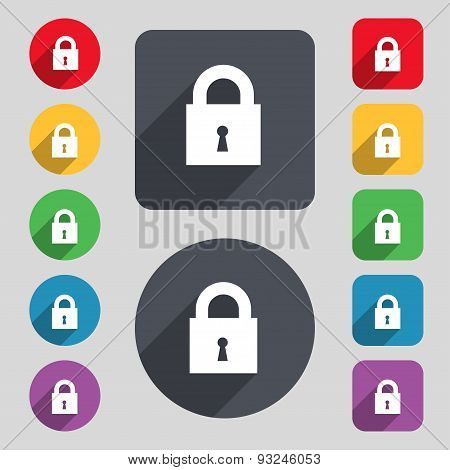 Closed Lock Icon Sign. A Set Of 12 Colored Buttons And A Long Shadow. Flat Design. Vector