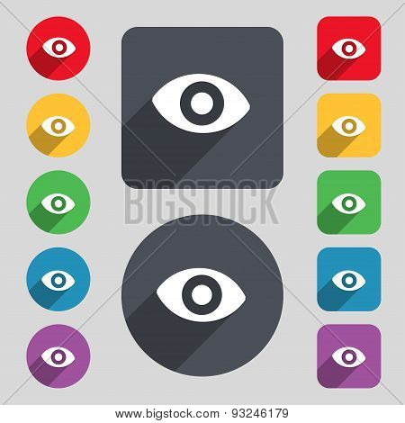 Sixth Sense, The Eye Icon Sign. A Set Of 12 Colored Buttons And A Long Shadow. Flat Design. Vector