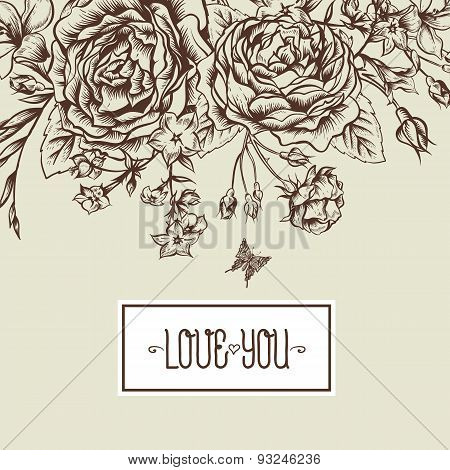 Beautiful Monochrome Victorian Roses in Vintage Style for Invitation Card