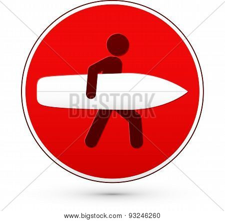 Red round stop sign with man and surfboard