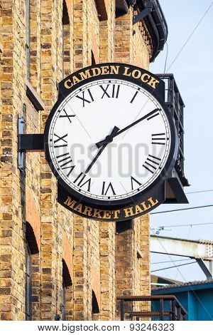 Old Wall Clock At Camden Lock Market Hall