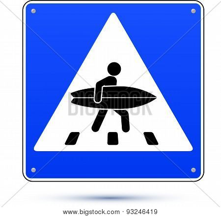 Blue square crossing road sign with surfer