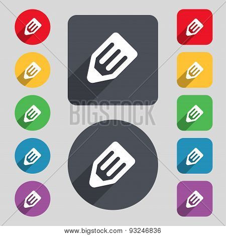 Pencil Icon Sign. A Set Of 12 Colored Buttons And A Long Shadow. Flat Design. Vector