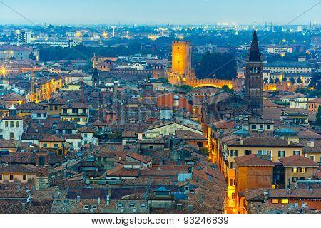Verona skyline at night, Italy