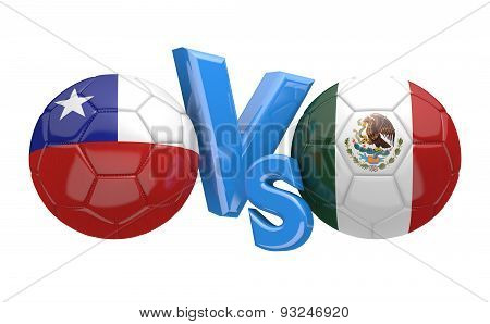 Football competition, national teams Chile vs Mexico
