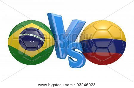 Football competition, national teams Brazil vs Colombia
