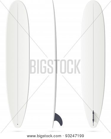 White surfing board template - longboard