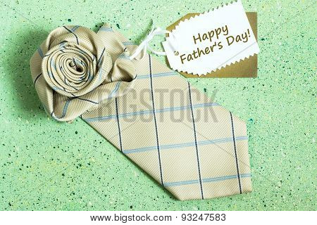 Postcard To The Father's Day: Tie In The Form Of Roses And Label