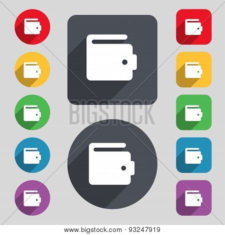 Purse Icon Sign. A Set Of 12 Colored Buttons And A Long Shadow. Flat Design. Vector
