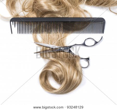 Hair With Hair Cutting Shears And Comb