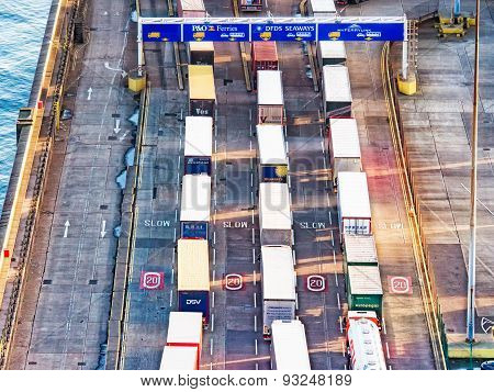 DOVER, UK - FEB 15, 2015: Line Of Trucks In Port