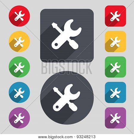 Screwdriver, Key, Settings Icon Sign. A Set Of 12 Colored Buttons And A Long Shadow. Flat Design. Ve