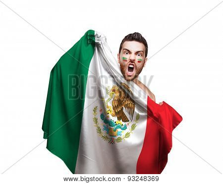 Fan holding the flag of Mexico on white background