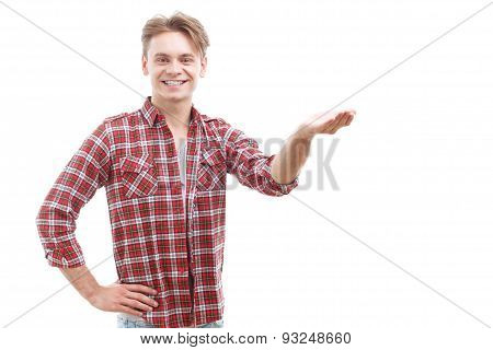 Cheerful guy rising his hand