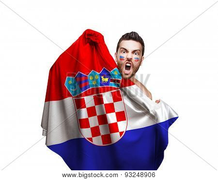 Fan holding the flag of Croatia on white background