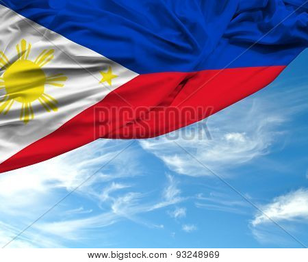 Philippine waving flag on a beautiful day