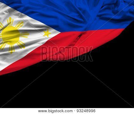 Philippine waving flag on black background