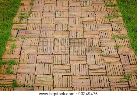 Garden Walkway Constructed Of Old Bricks