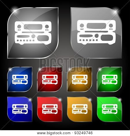 Radio, Receiver, Amplifier Icon Sign. Set Of Ten Colorful Buttons With Glare. Vector