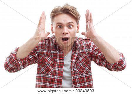 Surprised guy showing wonder