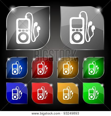 Mp3 Player, Headphones, Music Icon Sign. Set Of Ten Colorful Buttons With Glare. Vector