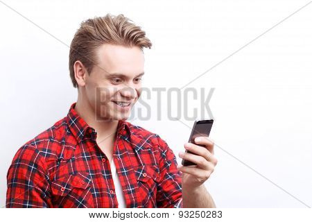 Nice guy holding the mobile phone