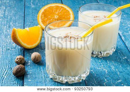 Milkshake With Orange Juice And Nutmeg