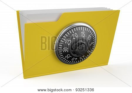 Folder Icon With Combination Lock