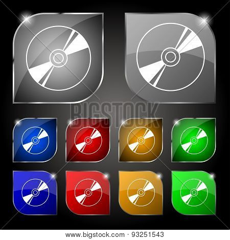 Cd, Dvd, Compact Disk, Blue Ray Icon Sign. Set Of Ten Colorful Buttons With Glare. Vector