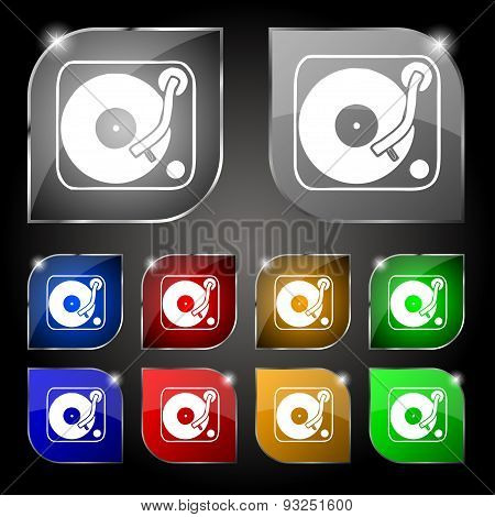 Gramophone, Vinyl Icon Sign. Set Of Ten Colorful Buttons With Glare. Vector