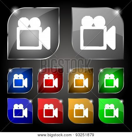 Camcorder Icon Sign. Set Of Ten Colorful Buttons With Glare. Vector