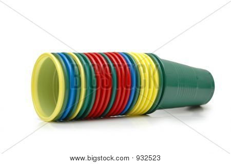Stacked Plastic Cups Isolated On White Background