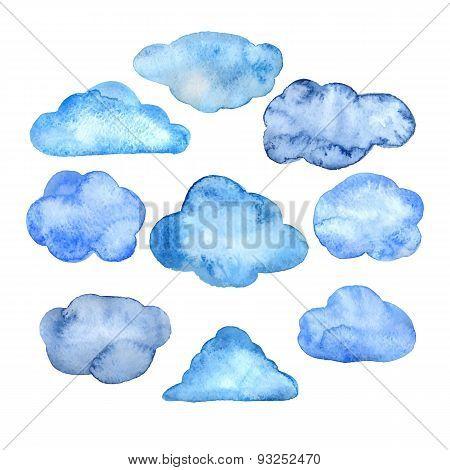 Watercolor clouds set