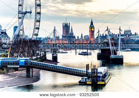 LONDON, UK - JAN 21, 2013: London Eye, Westminster Bridge And Big Ben