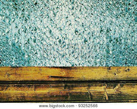Toned Wooden Timber And Azure Drips As Abstract Background