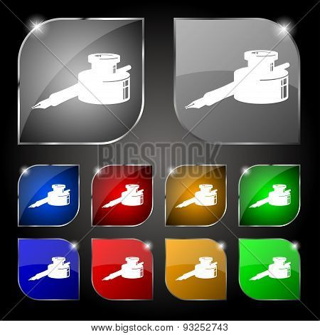 Pen And Ink Icon Sign. Set Of Ten Colorful Buttons With Glare. Vector