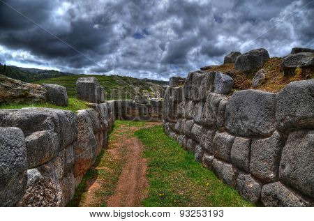 A Path In The Saksaywaman Citadel, Cusco, Peru