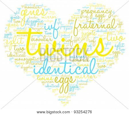 Twins Heart Shaped Word Cloud