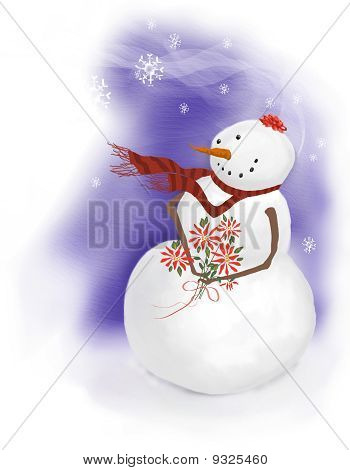 Snowman Girl Holding Poinsettias