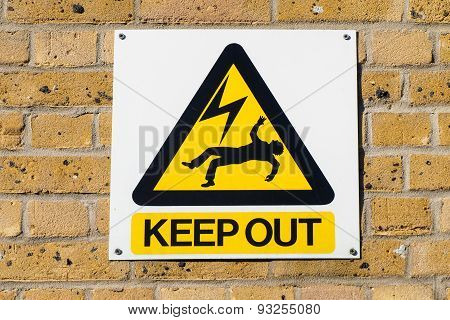 Electric Shock Death Warning Yellow Sign On Wall