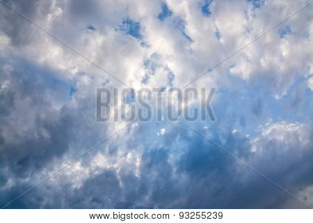 Gray and white clouds on blue sky