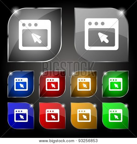 The Dialog Box Icon Sign. Set Of Ten Colorful Buttons With Glare. Vector