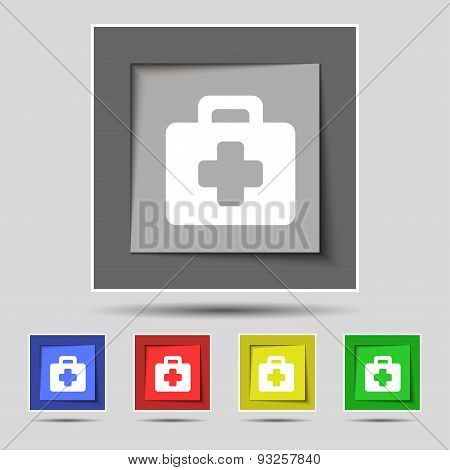 First Aid Kit Icon Sign On Original Five Colored Buttons. Vector